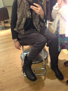 Zara plum harems, Belstaff Chad boots, Marc by Marc Jacobs scarf, Warehouse roll neck, Zara black jacket with leather lapels