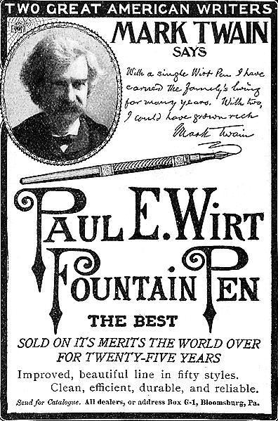Mark Twain, pen salesman