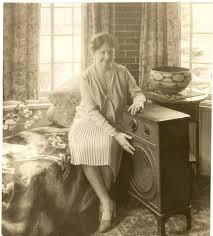 Helen Keller 'listens' to radio