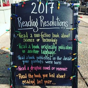 2017 Reading Resolutions chalk board