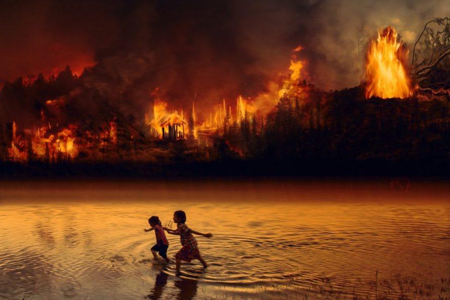 Fleeing fire photo