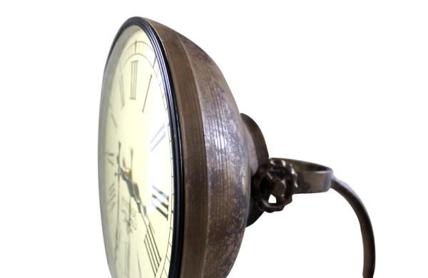 Iron Floor Lamp Clock in Brass Finish (Camo Brown)