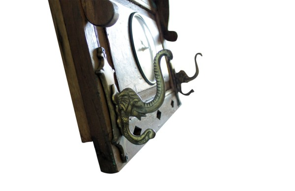 Upcycled Old Window Clock with Brass Hooks (Cream White)