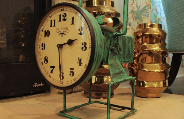 Upcycled Iron Lamp Style Clock (Green Camo)