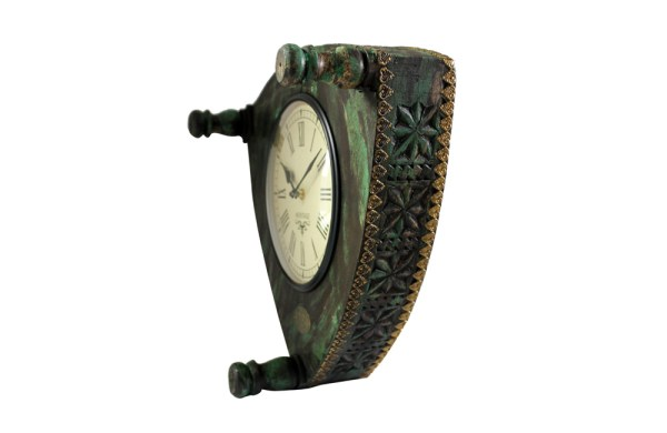 Upcycled Old Low Stool Clock (Green)