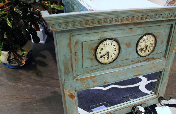 Upcycled Old Window Clock with Mirror (Blue)