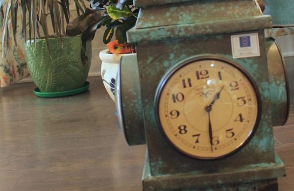Upcycled Iron Lantern Clock (Blue)