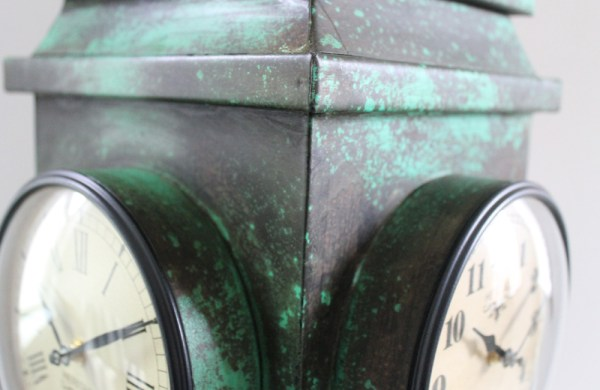 Upcycled Iron Lantern Clock (Green)