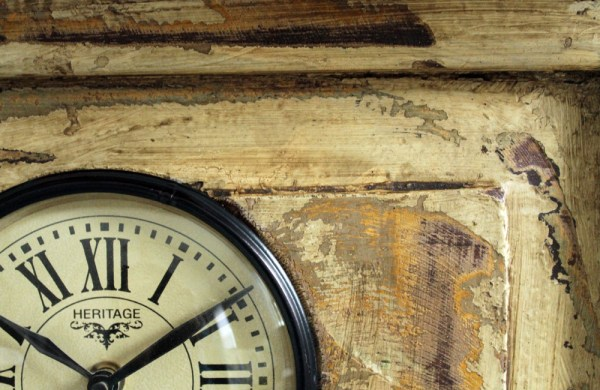 Upcycled Old Window Clock with Mirror (Brown)
