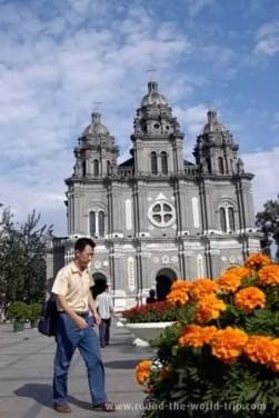 """Igreja católica no centro de Pequim"""""""