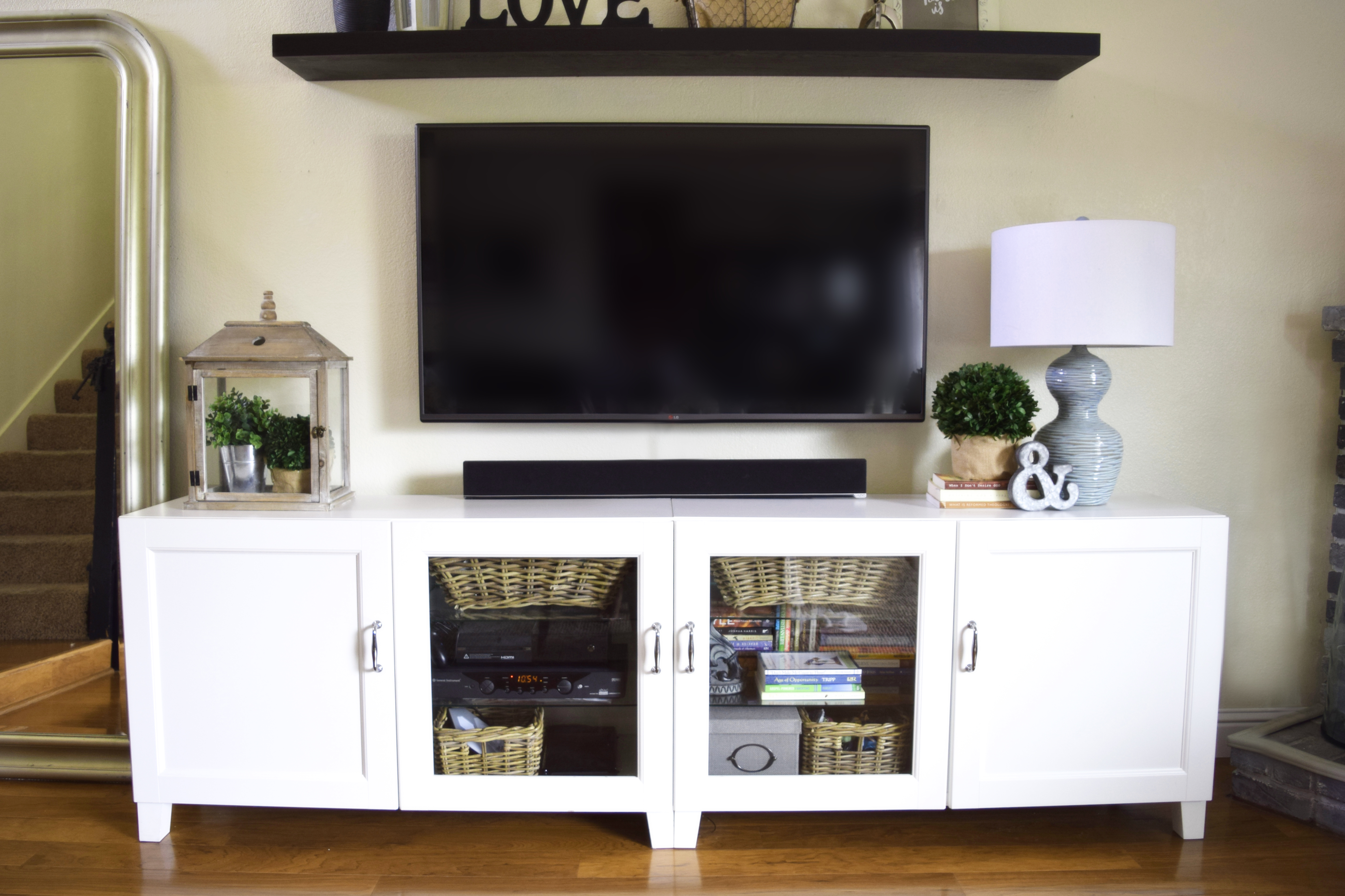 our somewhat ikea hacked entertainment center and an. Black Bedroom Furniture Sets. Home Design Ideas