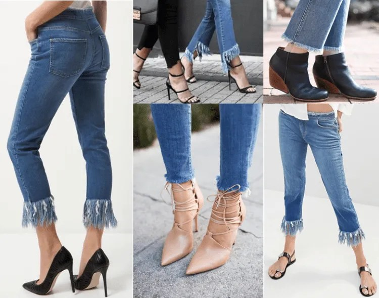 Modelos com a barra da calça desfiada
