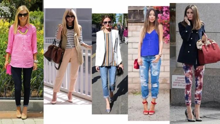 Mulheres de calça com a barra dobrada