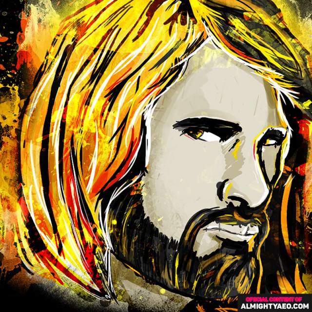painting of wrestler seth rollins of the wwe by almighty aeophex