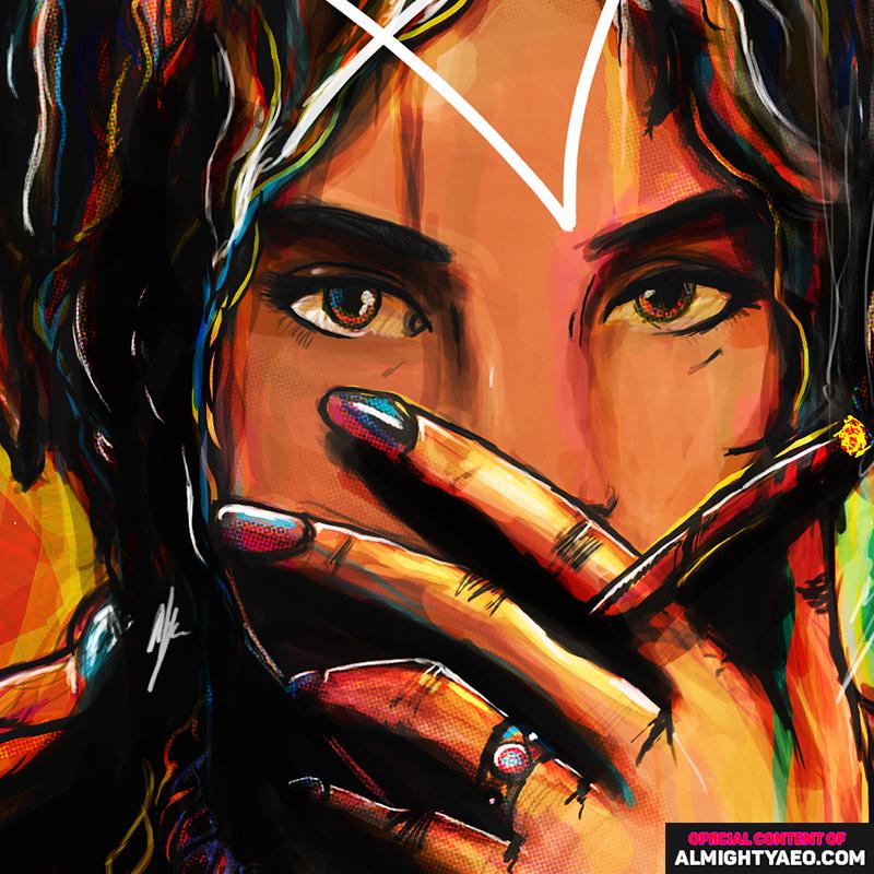 girl smoking blunt, girl smoking weed painting