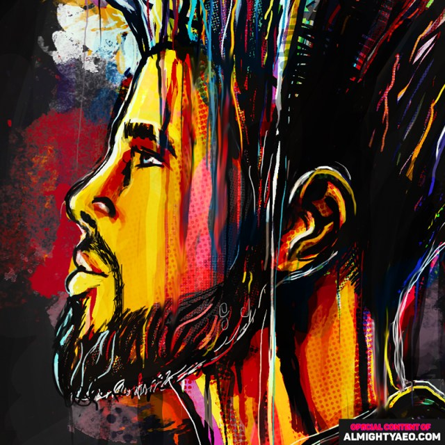 painting of the rapper musician JCOLE by the almighty aeophex