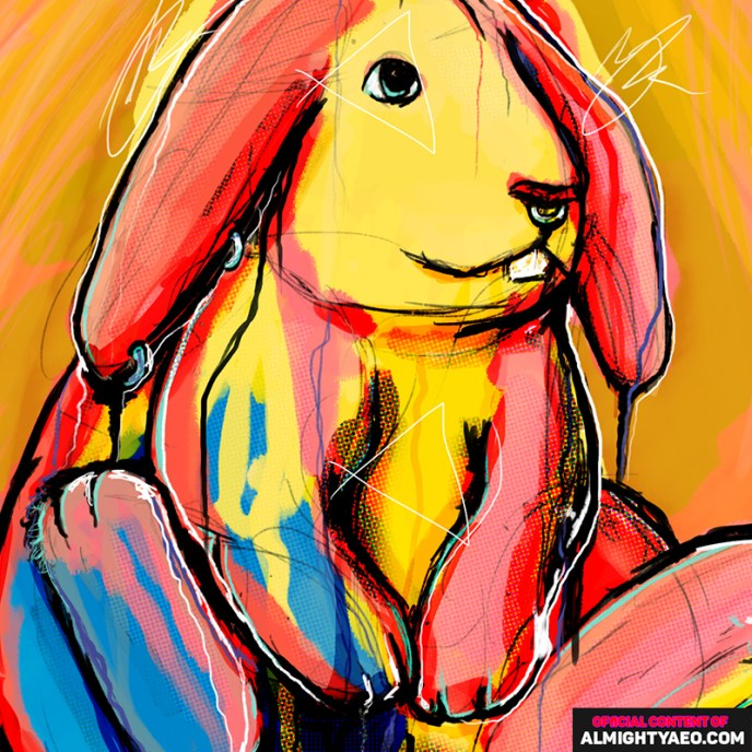 painting of a rabbit that has a nose ring by the almighty aeophex