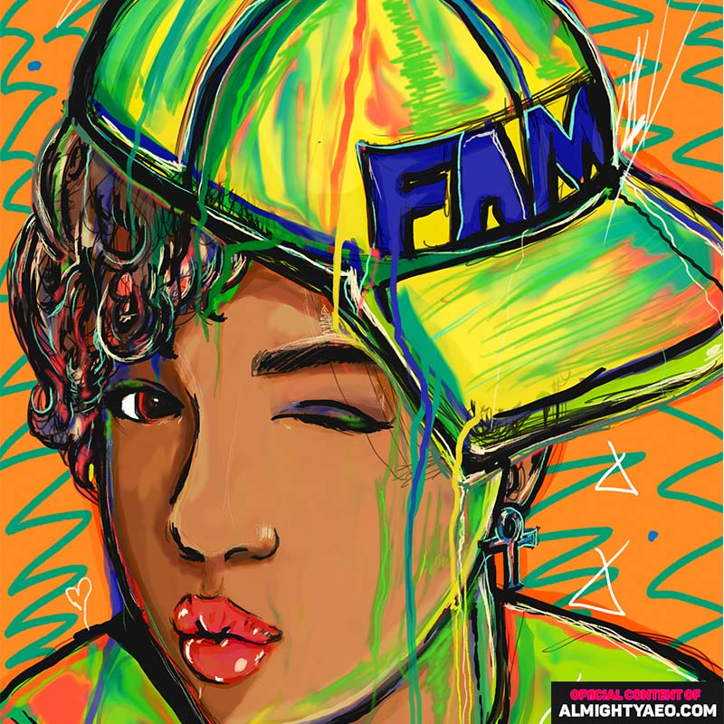 Painting of young african american girl wearing cap sideways and puckering lips by almighty aeophex