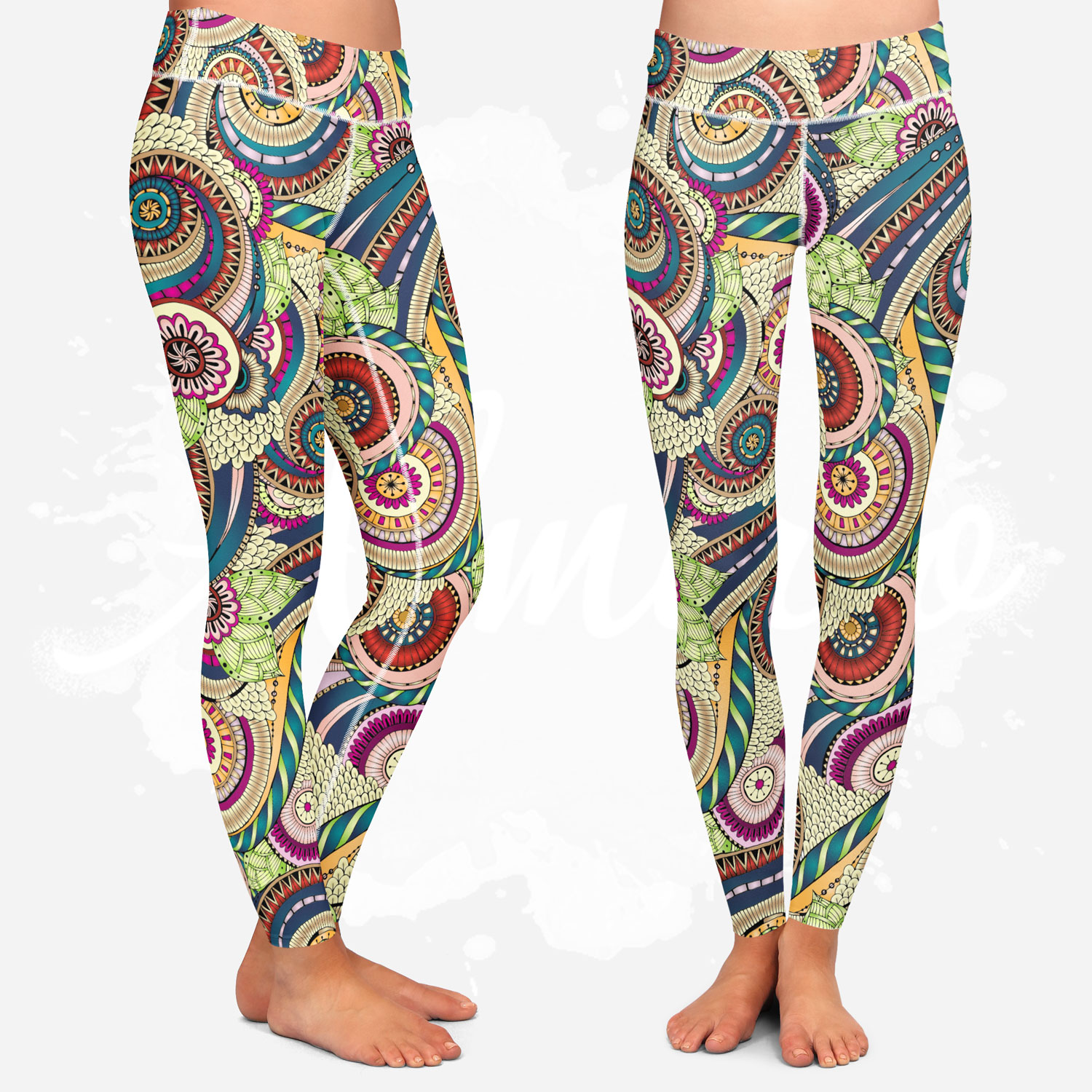 Leggings for women, julia snegireva, colorful mandala, yoga style