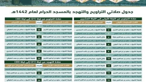 جدول الائمة في الحرم المكي رمضان 1442