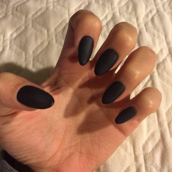 Brilliant Black Almond Nails