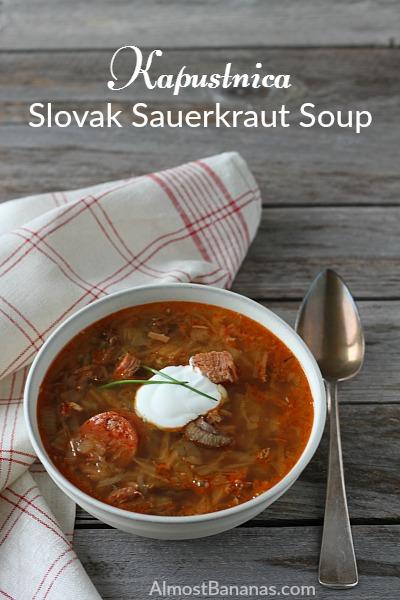 Delicious Slovak Sauerkraut Soup, called Kapustnica