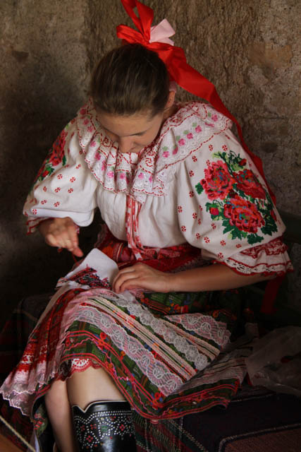 Girl from Slovakia embroiders