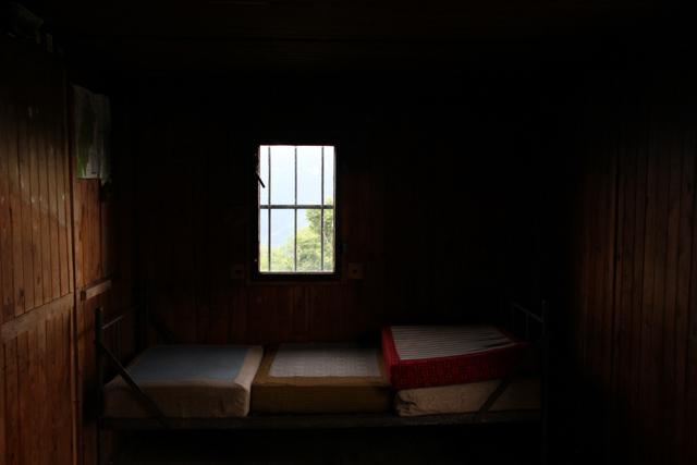 Inside hiker's shelter