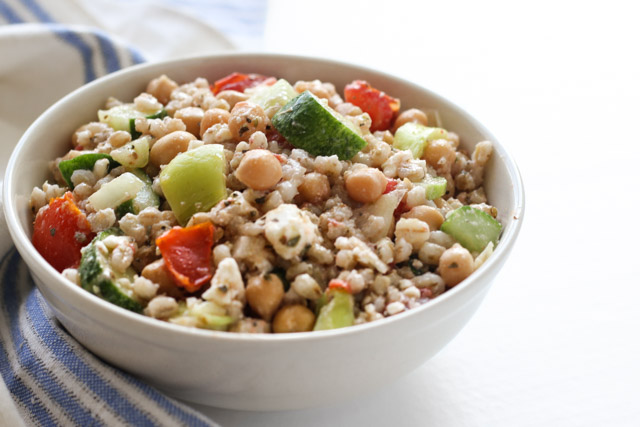 Chickpea and Barley Greek Salad - a filling meal salad