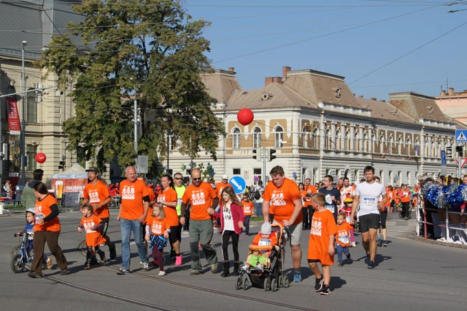 Family run at the Kosice Peace Marathon, Slovakia