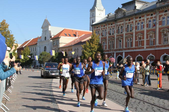 The leading group of runners at the Kosice Marathon, Slovakia