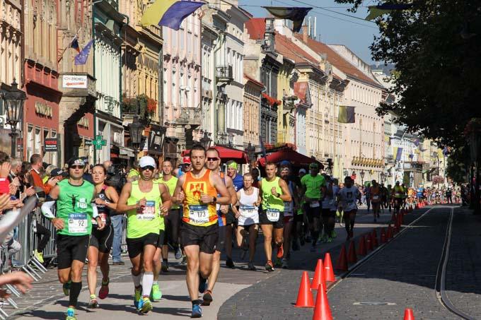 Runners in Kosice Peace Marathon, Slovakia