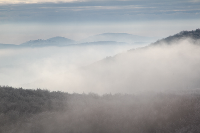 silhouettes of hills in mist, Slovakia