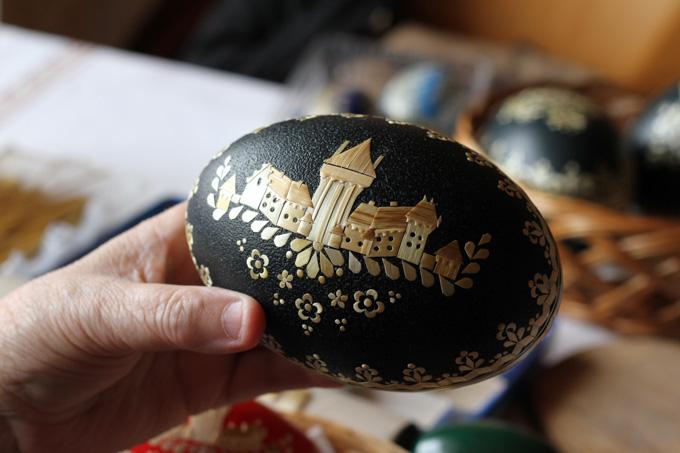 Emu egg with Smolenice castle, Slovakia