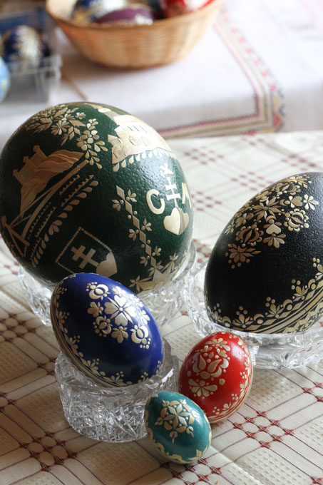 Different sizes of decorated Easter eggs