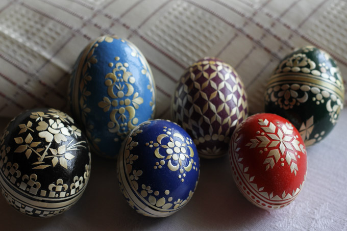 Slovak straw-decorated Easter eggs