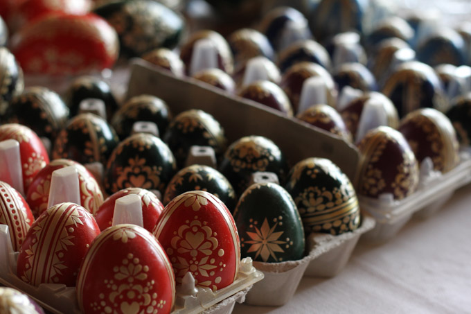 Cartons of straw decorated Easter eggs in Slovakia