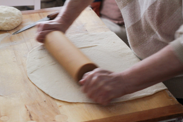 Rolling out the noodle dough