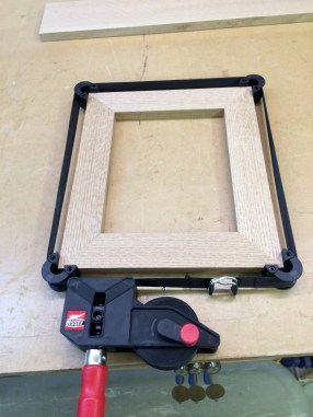 The pieces are miter-cut to length and dry fitted.