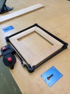The frame is dry-fitted again. Small gaps are present in the miters.