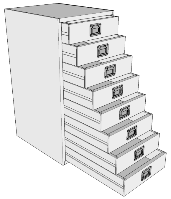 8-Drawer Small Parts Cabinet (extended)