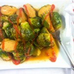Maple Sriracha Roasted Brussels Sprouts