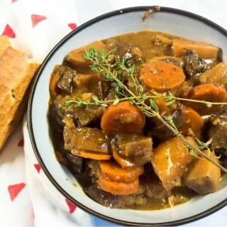 Crockpot Beef-less Mushroom Bourguignon