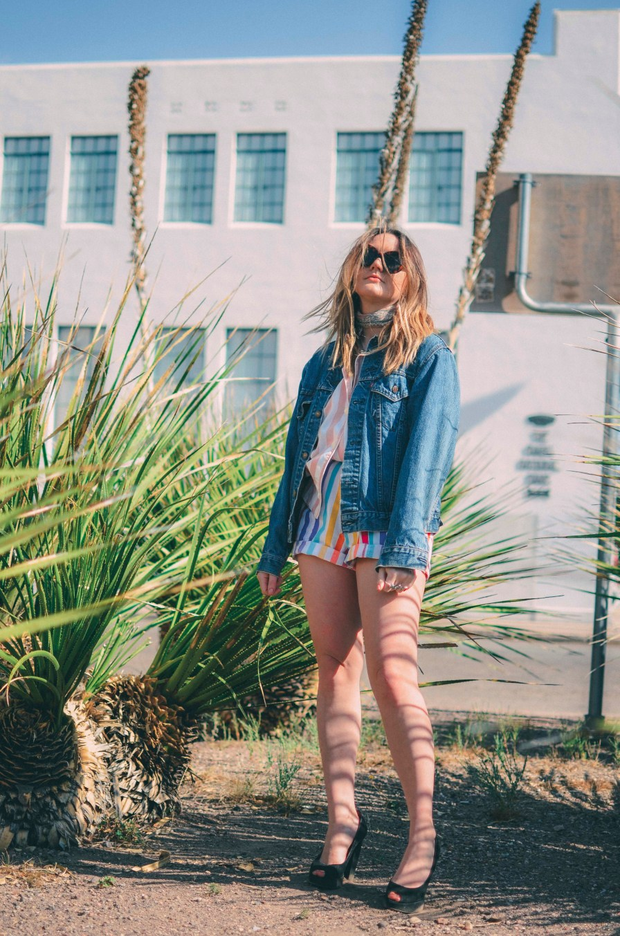 Rainbow Striped Outfit Vintage Denim Jacket