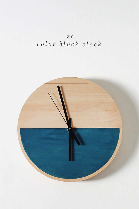 color block clock diy