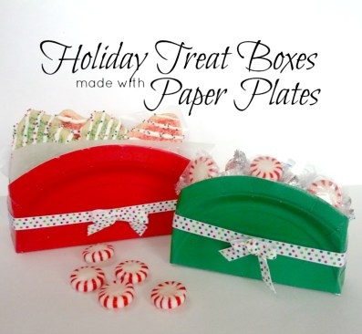 Holiday paper plate treat boxes