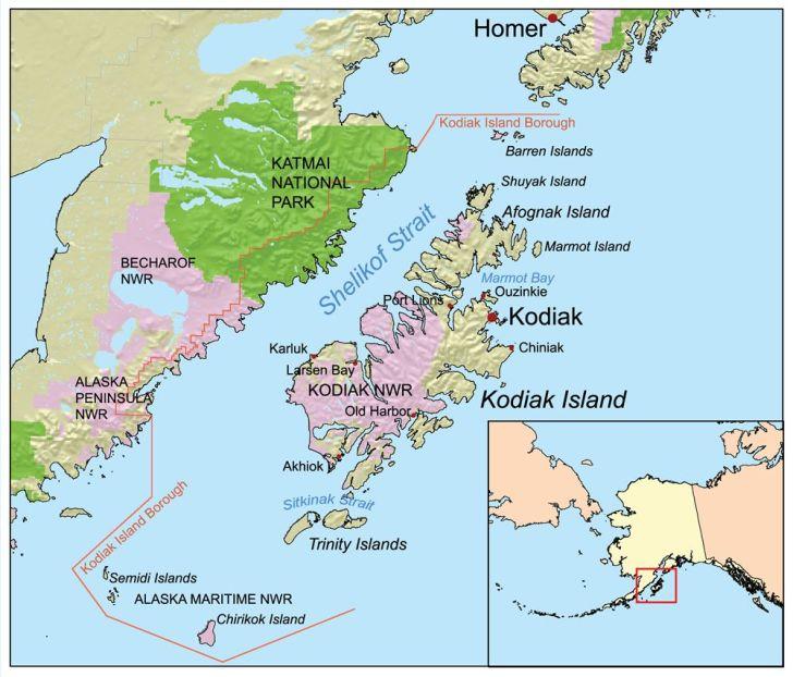 Kodiak Island Geography map