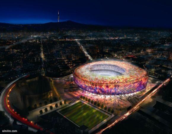 الكامب نو - ملعب برشلونة يتسع لحوالي 98,600 متفرج تم بناؤه عام 1957م