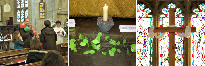 Collage showing a service in the church, a vine and candle, and an Easter cross