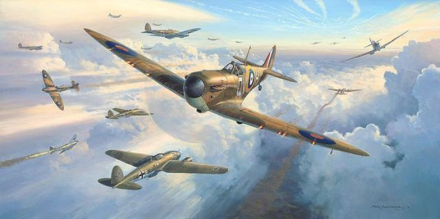A painting of Spitfires into Battle, by Mark Postlethwaite